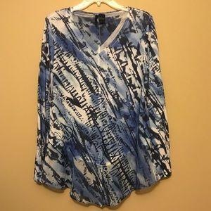 White and blue v neck tunic